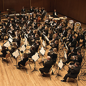 students playing in a wind symphony